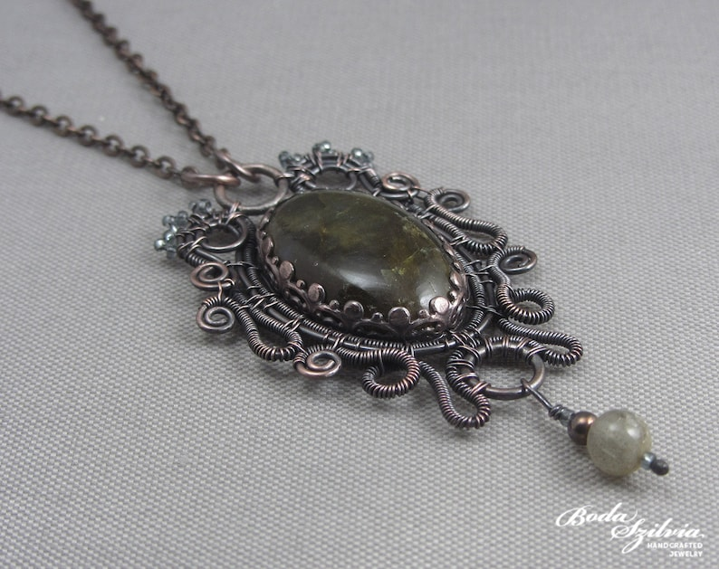 green copper and labradorite necklace gothic gift for her gold labradorite pendant /'Ophelia/' copper pendant elegant gothic jewelry