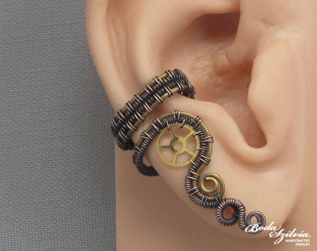 Steampunk Ear Cuff Wire Wrapped Ear Cuff Copper And Brass