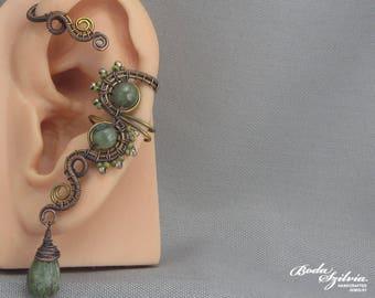 copper ear wrap 'Dryad' - wire wrapped ear cuff, kyanite ear cuff, kyanite jewelry, beaded gemstone ear cuff, elegant ear cuff, gift for her