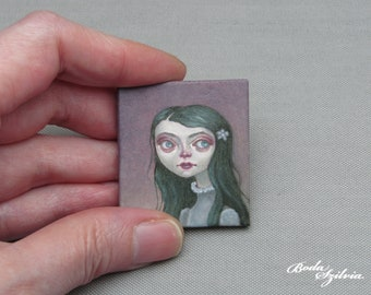 green hair girl portrait original miniature oil painting, artwork for one inch scale dollhouse, collectible tiny big eye painting