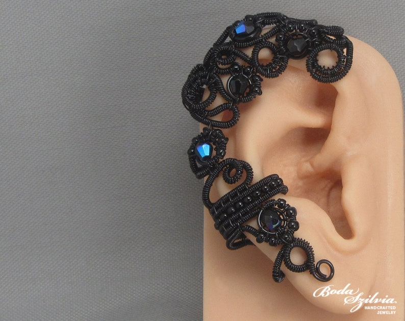 gothic ear wrap /'Raven/' wire wrapped black ear cuff victorian mourning jewelry gothic ear cuff gift for her
