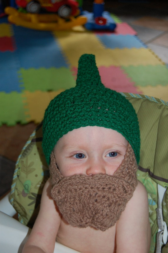 8518ad1574ecf Green Gnome Hat with Light Brown Beard Costume Garden Gnome