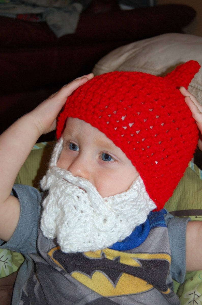 Red Gnome Hat with White Beard Halloween Costume Halloween  0e677f425761
