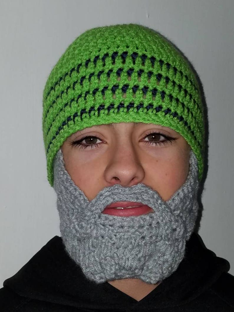 Inspired by Seahawks Seattle Seahawks Fan Beard Beanie Adult  c6d002c0feb