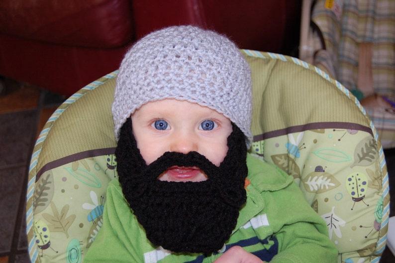 Gray Beanie with Black Beard Baby Beard Hat Baby Beard  de73ac9f639