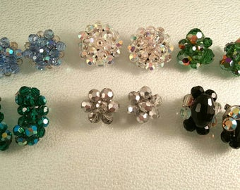 Lot of 6 Pair Cluster Bead Earrings in Green Blue Clear Silver Black Wear Upcycle Repurpose Destash
