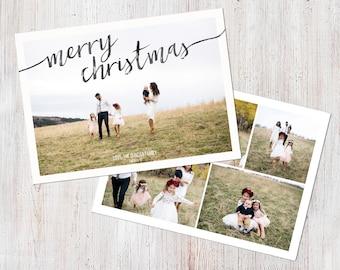 Photo Christmas Card Template: Merry Christmas Happy Holidays Brushstroke Swirl Custom Photo Holiday Card Printable