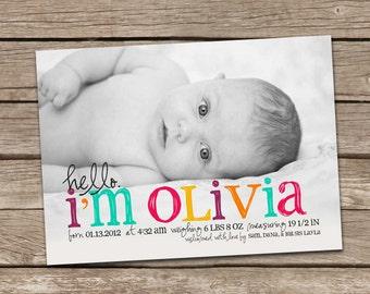 Birth Announcement : Hello Olivia Baby Girl Custom Photo Birth Announcement - Baby Announcement - Hello Baby - Photo Announcement