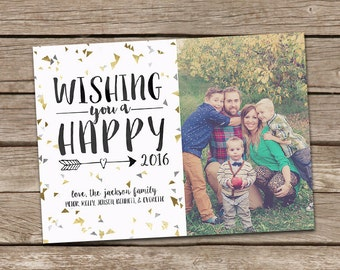 Photo New Year Card : Faux Gold Foil Wishing You A Happy 2016 New Year Confetti Triangle Custom Photo Holiday Card Printable