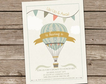 Hot Air Balloon Baby Shower Invitation - Boy