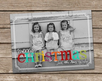 Photo Christmas Card : Bright Colors Custom Photo Holiday Card Printable
