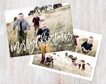 Photo Christmas Card Template: Merry Christmas Happy Holidays Brush Font Custom Photo Holiday Card Printable