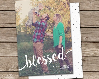 Photo Christmas Card Template: Blessed Script Custom Photo Holiday Card Printable