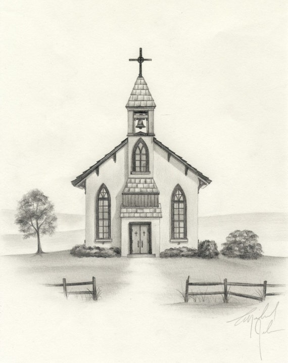 Country Church Pencil Drawing