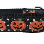 Halloween Dog Collar, Pumpkins, 1 inch wide, adjustable, quick release, metal buckle, chain, martingale, hybrid, nylon