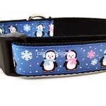 Christmas Dog Collar, Blue Penguins,1 inch wide, adjustable, quick release, metal buckle, chain, martingale, hybrid, nylon
