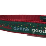 Christmas Dog Collar, Dear Santa, 1 inch wide, adjustable, quick release, metal buckle, chain, martingale, hybrid, nylon