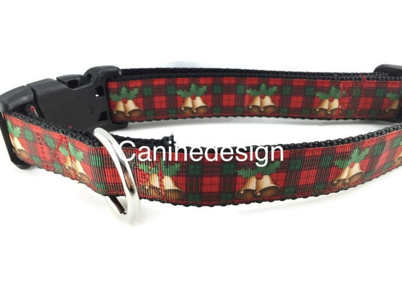 Christmas Dog Collar Plaid Bells 1 inch wide adjustable image 0