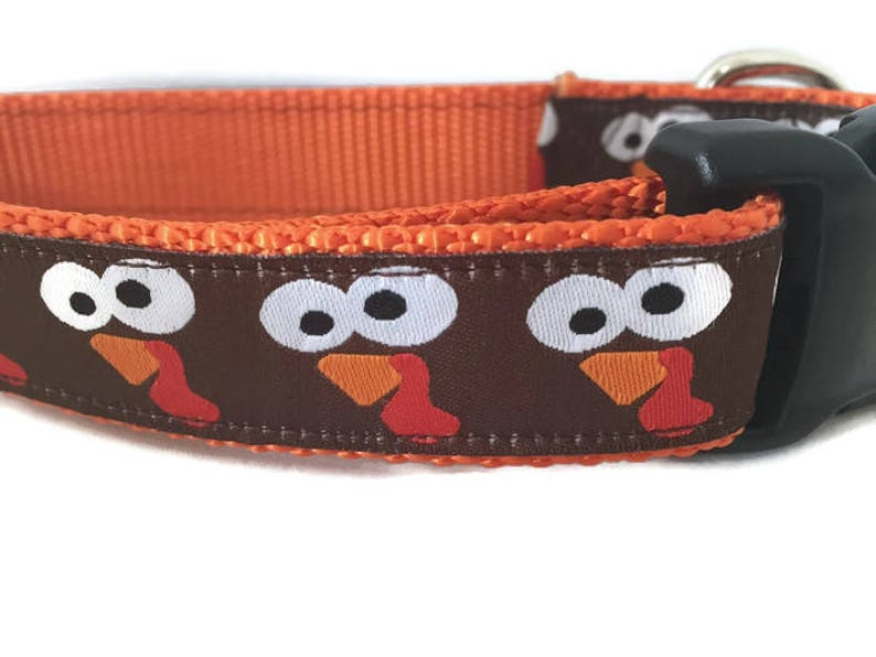 Thanksgiving Dog Collar Turkey Faces 1 inch wide image 0
