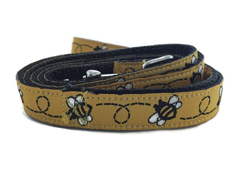 Dog Leash BumbleBee 5/8 inch wide 1 foot 4 foot or 6 foot image 0