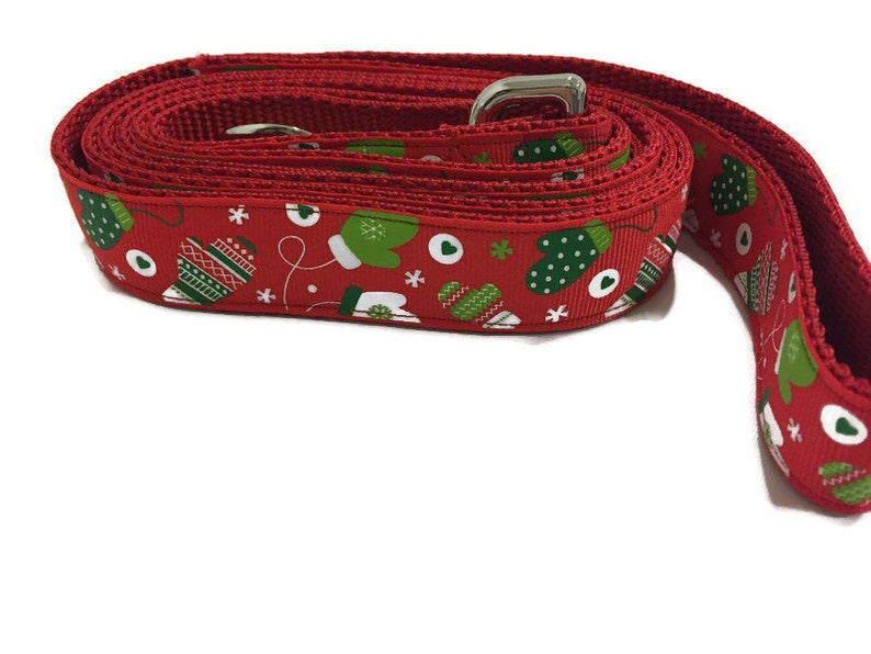 Christmas Dog Leash Mittens 1 inch wide 1 foot 4 foot or image 0