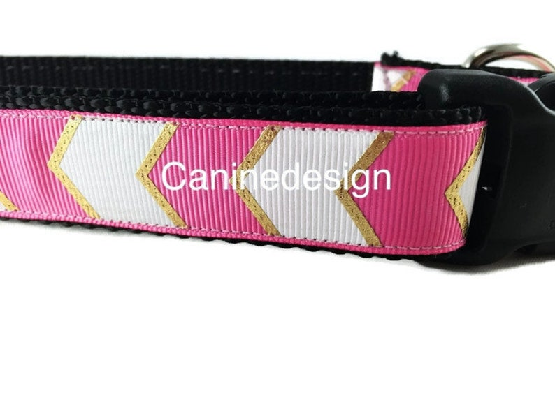 Dog Collar Pink Chevron 1 inch wide adjustable quick image 0