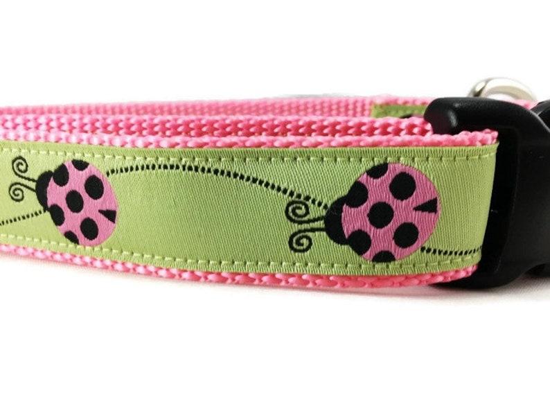 Easter Dog Collar Ladybug  adjustable 1 inch small 11-14 image 0
