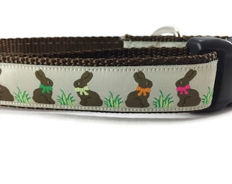 Easter Dog Collar, Chocolate Bunnies, 1 inch wide, adjustable, quick release, metal buckle, chain, martingale, hybrid, nylon