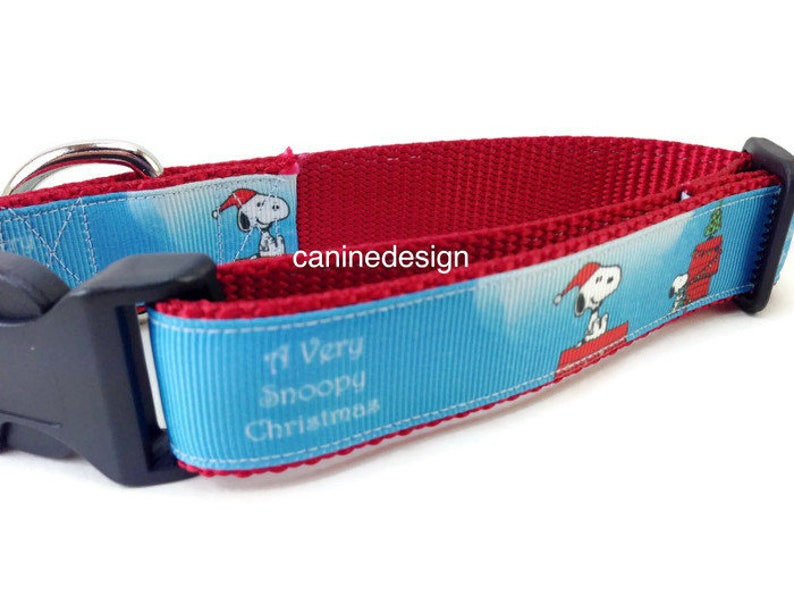 Christmas Dog Collar Snoopy 1 inch wide adjustable small image 0