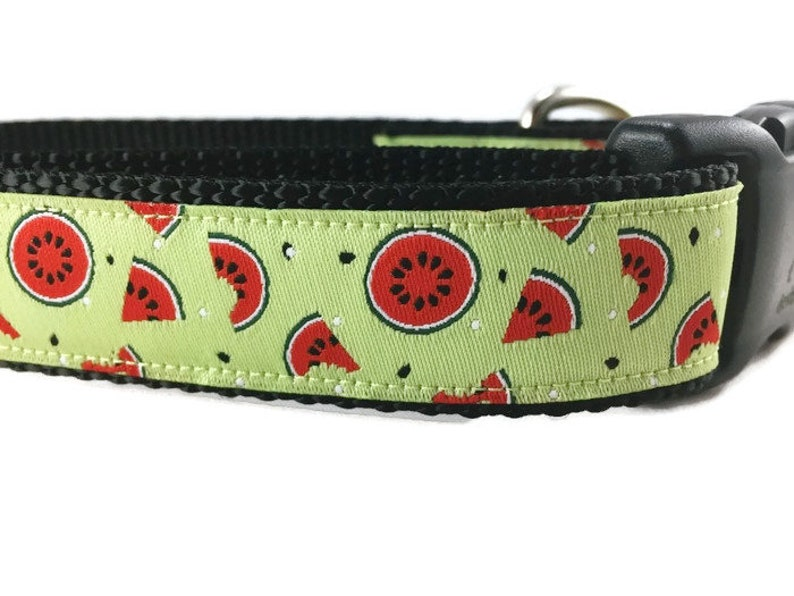 Dog Collar Watermelon 1 inch wide adjustable quick image 0
