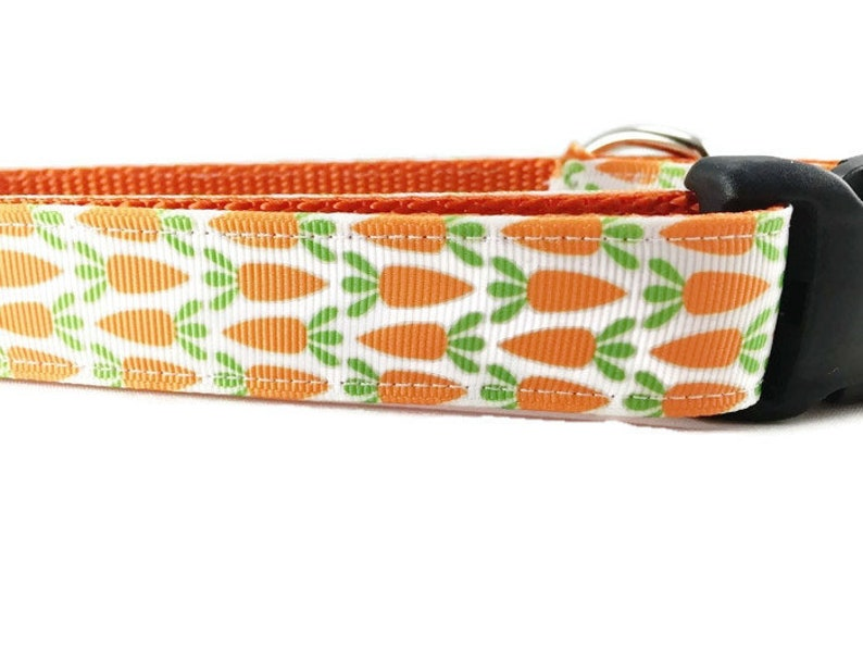 Easter Dog Collar Carrots  adjustable 1 inch small 11-14 image 0