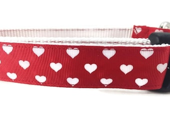 Dog Leash, Hearts, 1 inch wide, 1 foot, 4 foot, or 6 foot