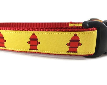 Dog Collar, Fire Hydrant, 1 inch wide, adjustable, quick release, metal buckle, chain, martingale, hybrid, nylon