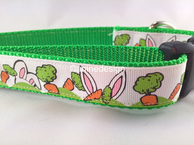 Easter Dog Collar and Leash Carrots and Ears 1 inch wide 6 image 0