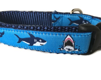 Dog Collar, Sharks,  adjustable, 5/8 inch, small, 9-13 inches, heavy nylon, quick release buckle