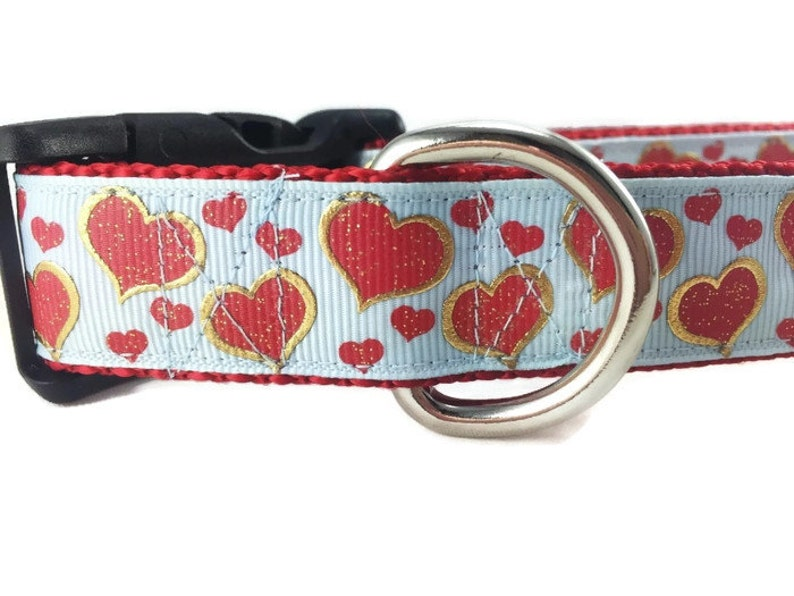 Valentine Dog Collar Boy Hearts 1 inch wide adjustable image 0