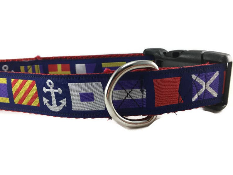Dog Collar Nautical Flags 1 inch wide adjustable quick image 0