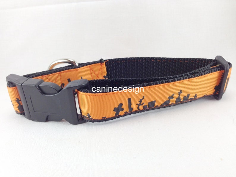 Halloween Dog Collar Cemetery 1 inch wide adjustable image 0
