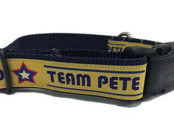 Dog Collar, Pete Buttigieg, Mayor Pete, 1 inch wide, adjustable, quick release, metal buckle, chain, martingale, hybrid, nylon