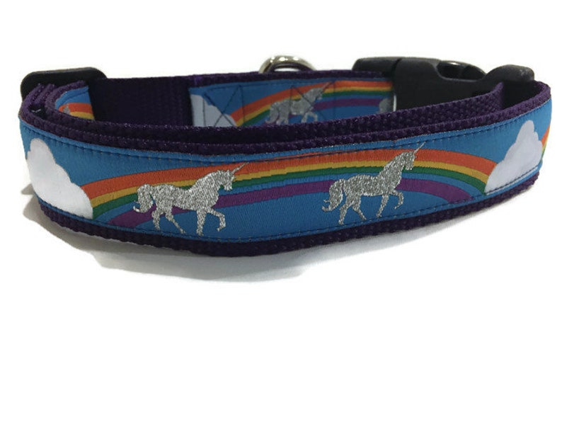 Dog Collar Unicorns 1 inch wide adjustable plastic quick image 0