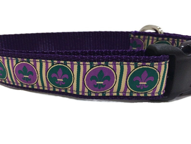 Dog Collar Mardi Gras Stripes1 inch wide adjustable quick image 0