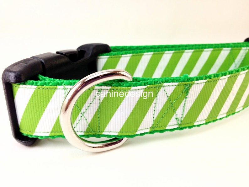 Dog Collar Green Stripe 1 inch wide adjustable small image 0