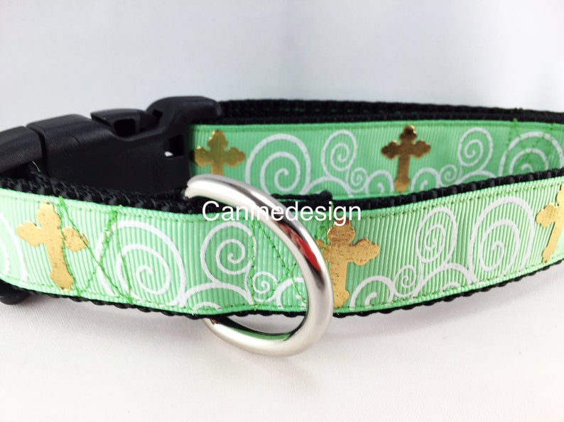 Easter Dog Collar Cross 1 inch wide adjustable small image 0