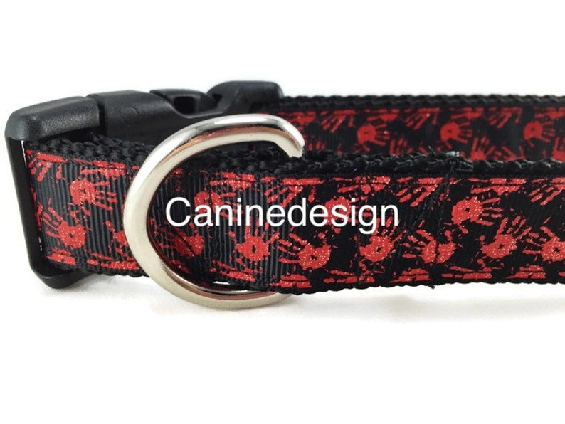 Halloween Dog Collar Bloody Handprints 1 inch wide image 0
