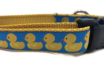 Dog Collar and Leash, Rubber Duck, 6ft leash, 1 inch wide, adjustable, quick release, metal buckle, chain, martingale, hybrid, nylon
