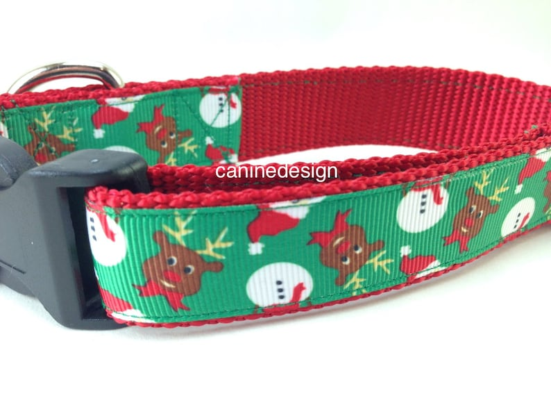 Dog Collar Frosty and Rudolph 1 inch wide adjustable quick image 0