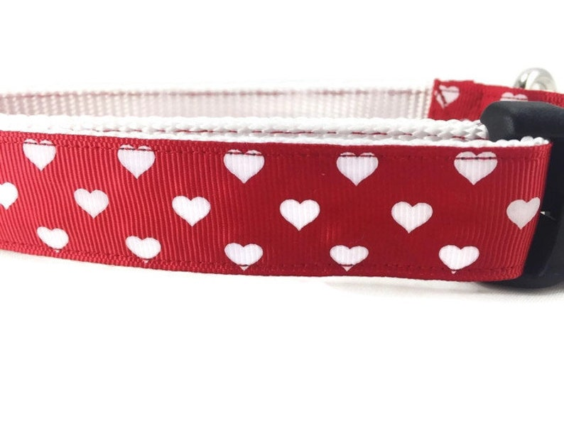 Dog Collar and Leash Hearts 1 inch wide 6ft adjustable image 0