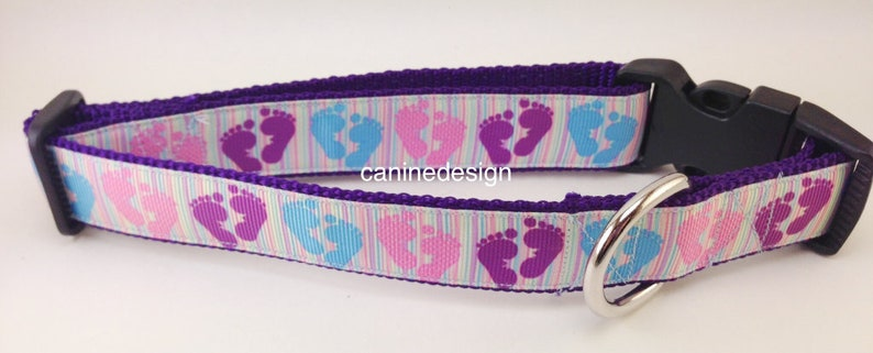 Dog Collar Baby Feet 1 inch wide adjustable quick release image 0