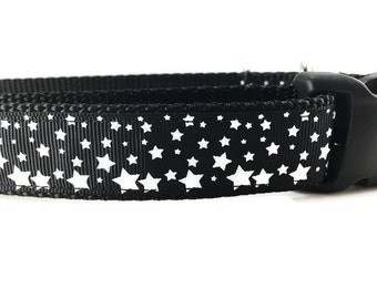 Dog Collar, White and Black Stars, 1 inch wide, adjustable, quick release, metal buckle, chain, martingale, hybrid, nylon