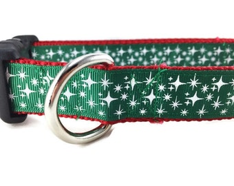 Christmas Dog Collar, Stars Green, 1 inch wide, adjustable, quick release, metal buckle, chain, martingale, hybrid, nylon